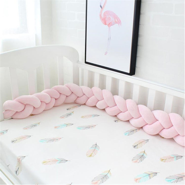 Baby Braided Crib Bumpers Long Knot Pillow Cushion