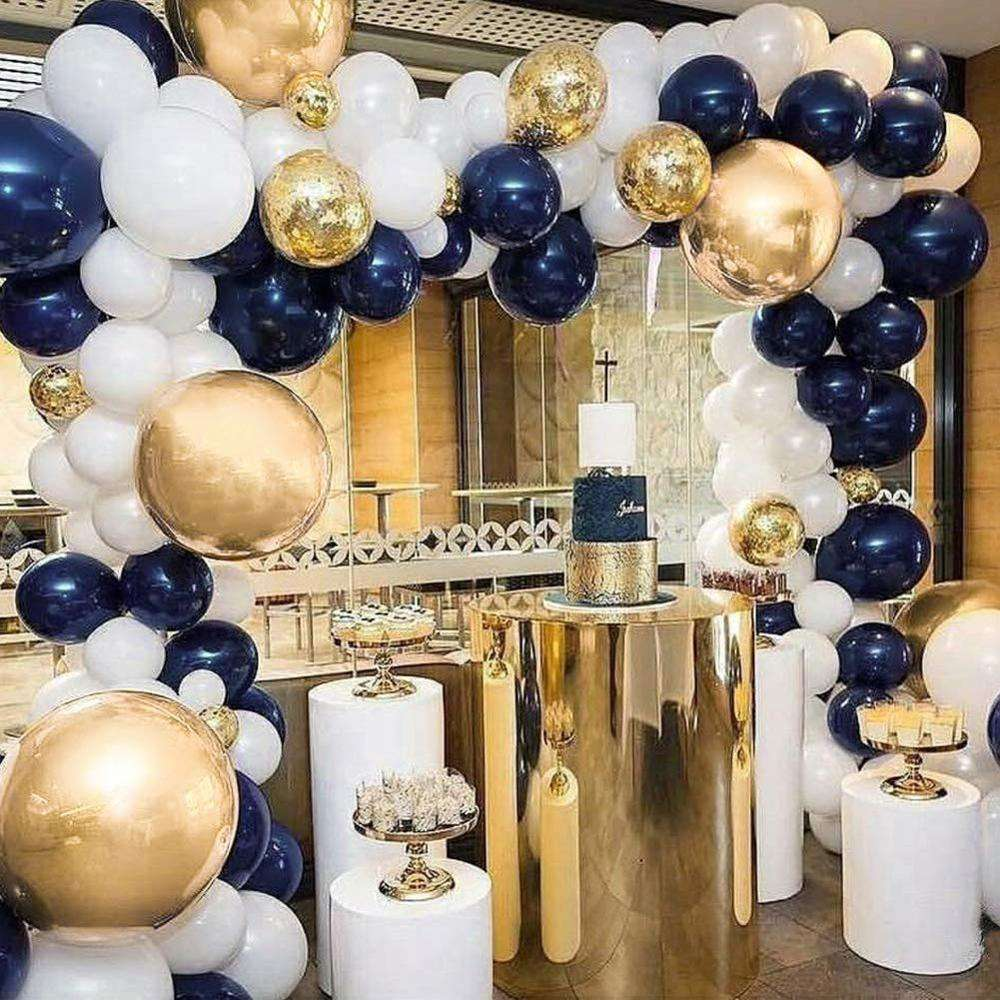 Navy Party Balloons Arch Kit Navy Blue White Latex Balloon Gold Confetti Metallic Latex Globos Birthday Party Decoration