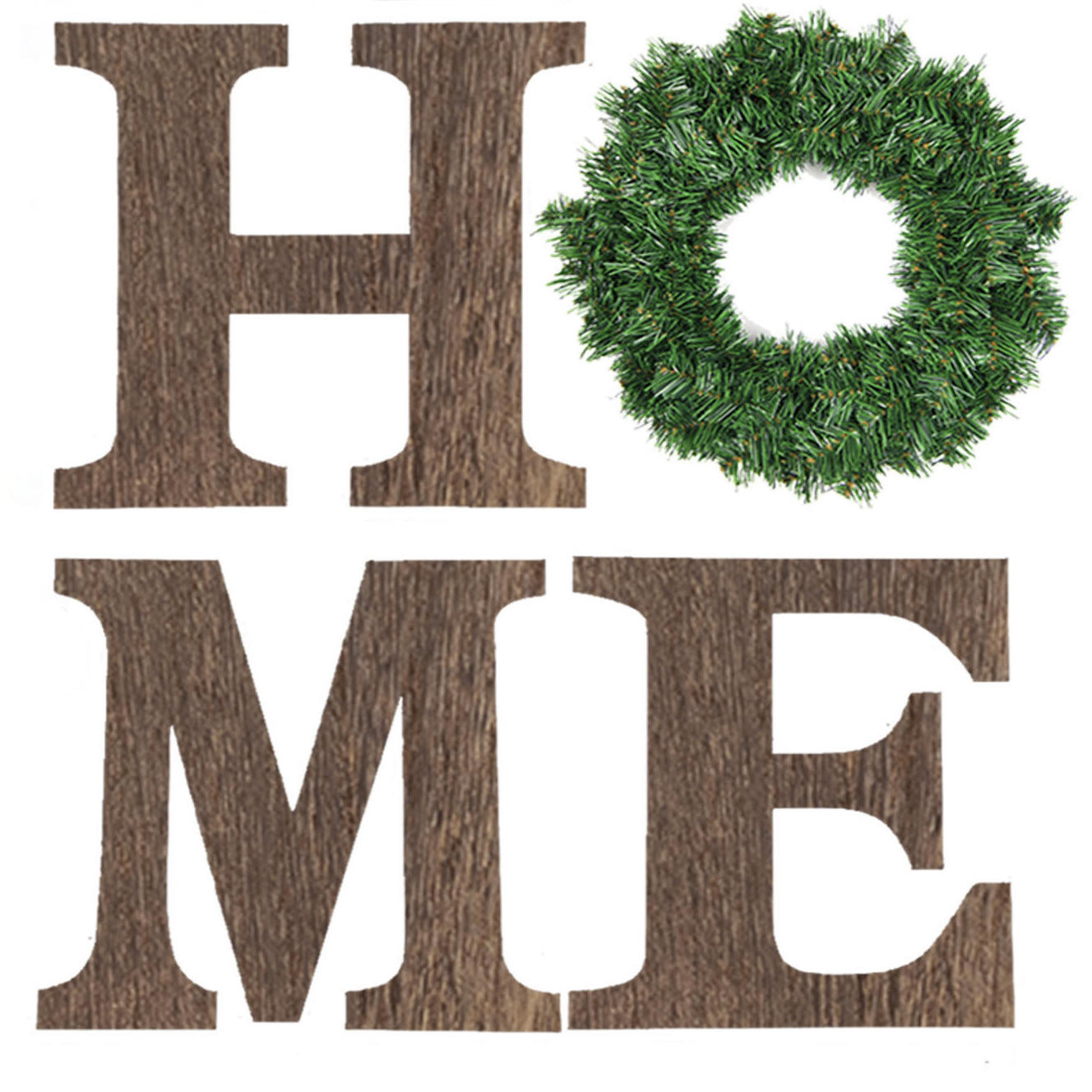 4 Pieces 13 Inch Brown Wooden Home Letters with Wreath Large Home Sign for Home Wall Decoration