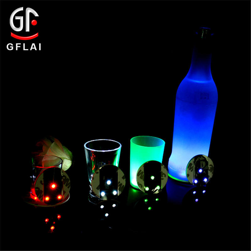 2020 Best Selling Bar Favor 3M Etiqueta Garrafa LED Coaster Para Wedding & Party