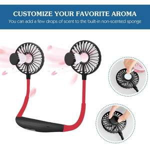 Upgraded Hands Free Wearable neck fan with LED Aromatherapy new arrival usb rechargeable sports fan