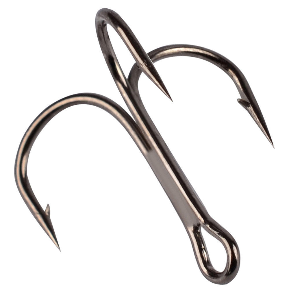 2# 4# 6# 8# 10# Black Fishing Hook High Carbon Steel Overturned Triple Hook Fishing