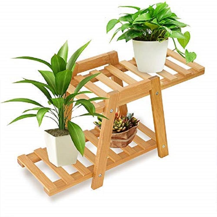 2-Tier Display Garden Bamboo Wooden Flower Pot Rack Plant Stand Flower Display Shelf Rack