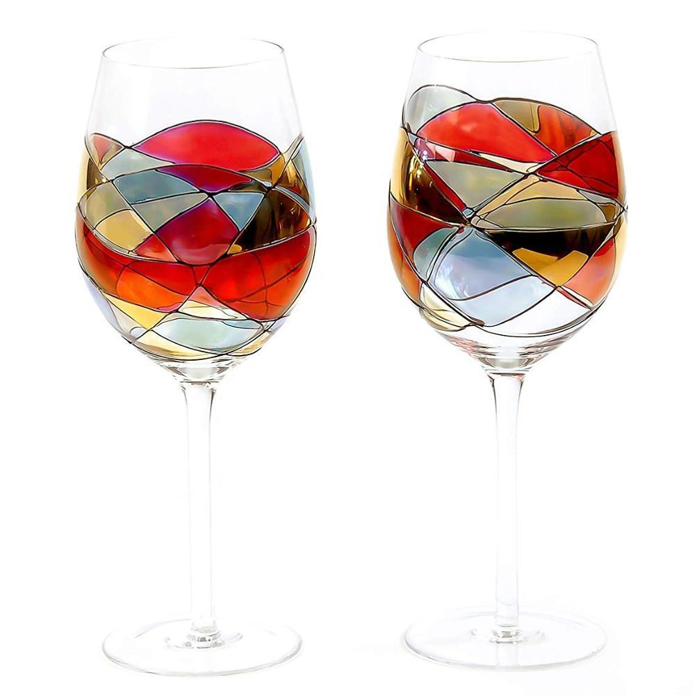 Mouth Blown Sagrada Red Stained Hand Painted customised wine glass