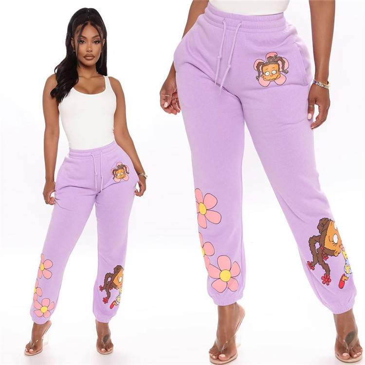 Wholesale Women Cartoon Printed Draw String Jogger Pants Chic Casual Loose Pants