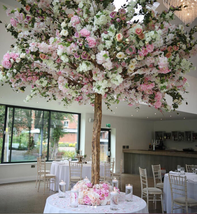 Wholesale Custom Size Natural Wood Tree Trunk Wedding Decorative Artifical Sakura Wedding Trees White