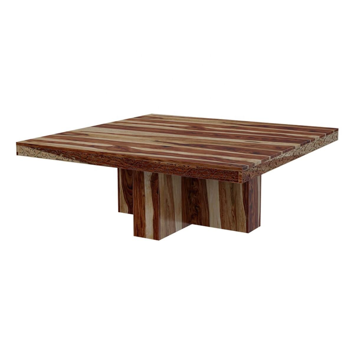 Solid Wood Rustic Large Square Dining Room Table Unique wooden legs
