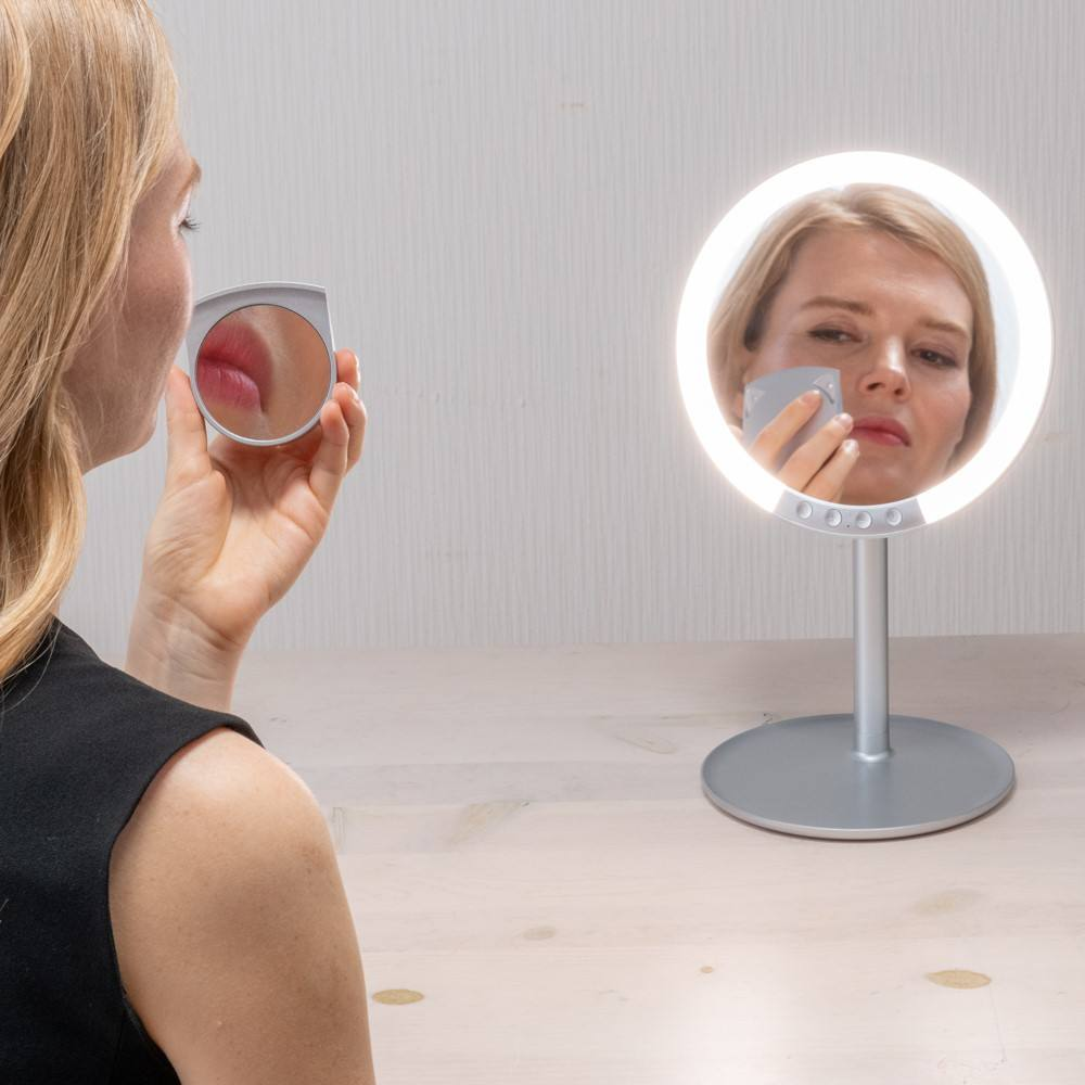High transparency cosmetic led mirror makeup with a 120-degree adjustable stand