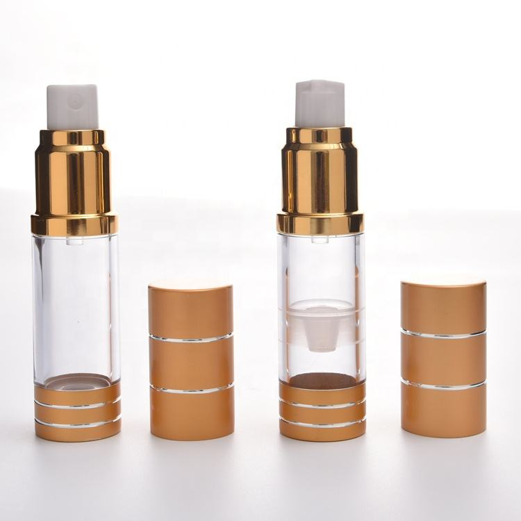 Skin Care Cream Vacuum Clear Sprayer Cosmetic Toner Packaging Airless Golden Empty Pump Bottle Gold