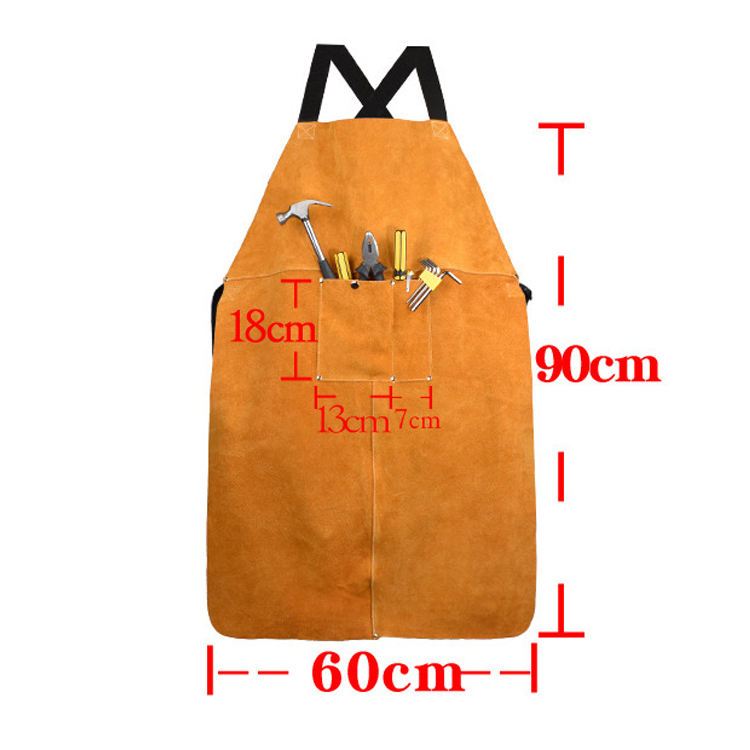 High quality wholesale Heat Flame Resistant Heavy Duty Work Leather Welding Apron