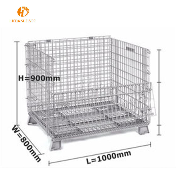 Competitive Price Warehouse Folding Rolling Metal Container Storage Cage With Wheels