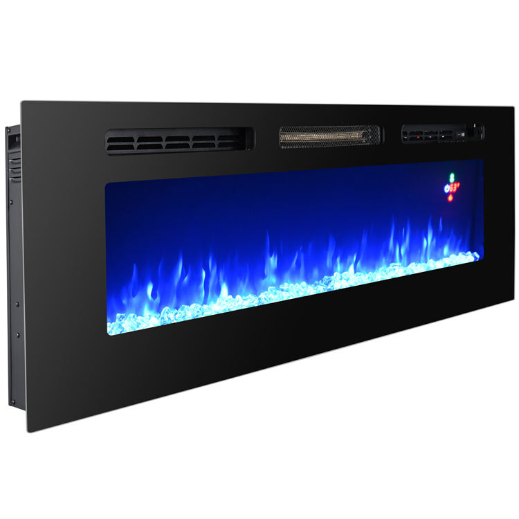"60"" modern artificial flame wall mounted electric fireplace insert indoor remote control"