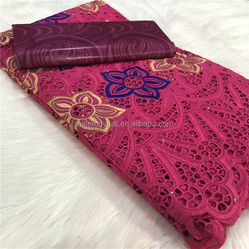 New design bazin fabric swiss voile cotton lace with 2.5yard+2.5yard riche getzner for dress