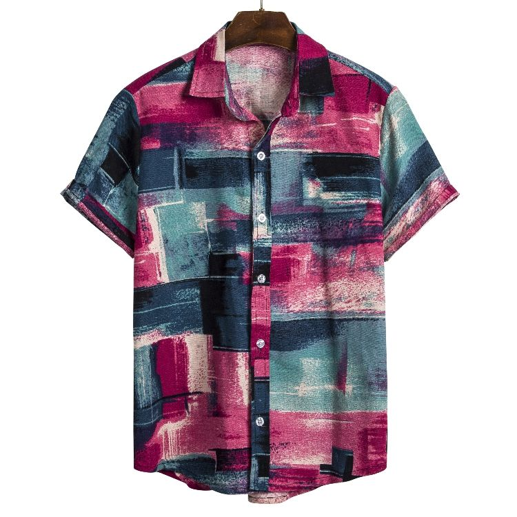 Wholesale In Stock Summer Color Printed Mens Floral Short Sleeve Vintage Hawaiian Shirts For Man