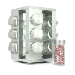 Wholesale 12 pieces jars rotatable spice rack kitchen metal spice rack organizer