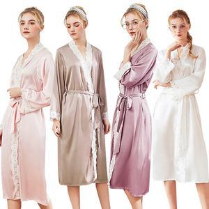 Women Silk Robe Lace trim Long Night Dressing Gown bridal Satin Robes