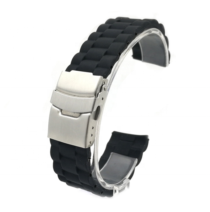 ZONESIN 4mm Thick Full Black Rubber Silicone Watch Band Straps