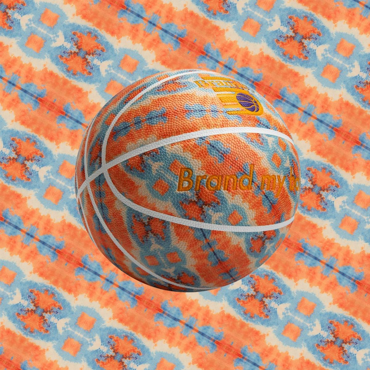 Overall digital printing pattern leather art basketball with custom logos size 28.5