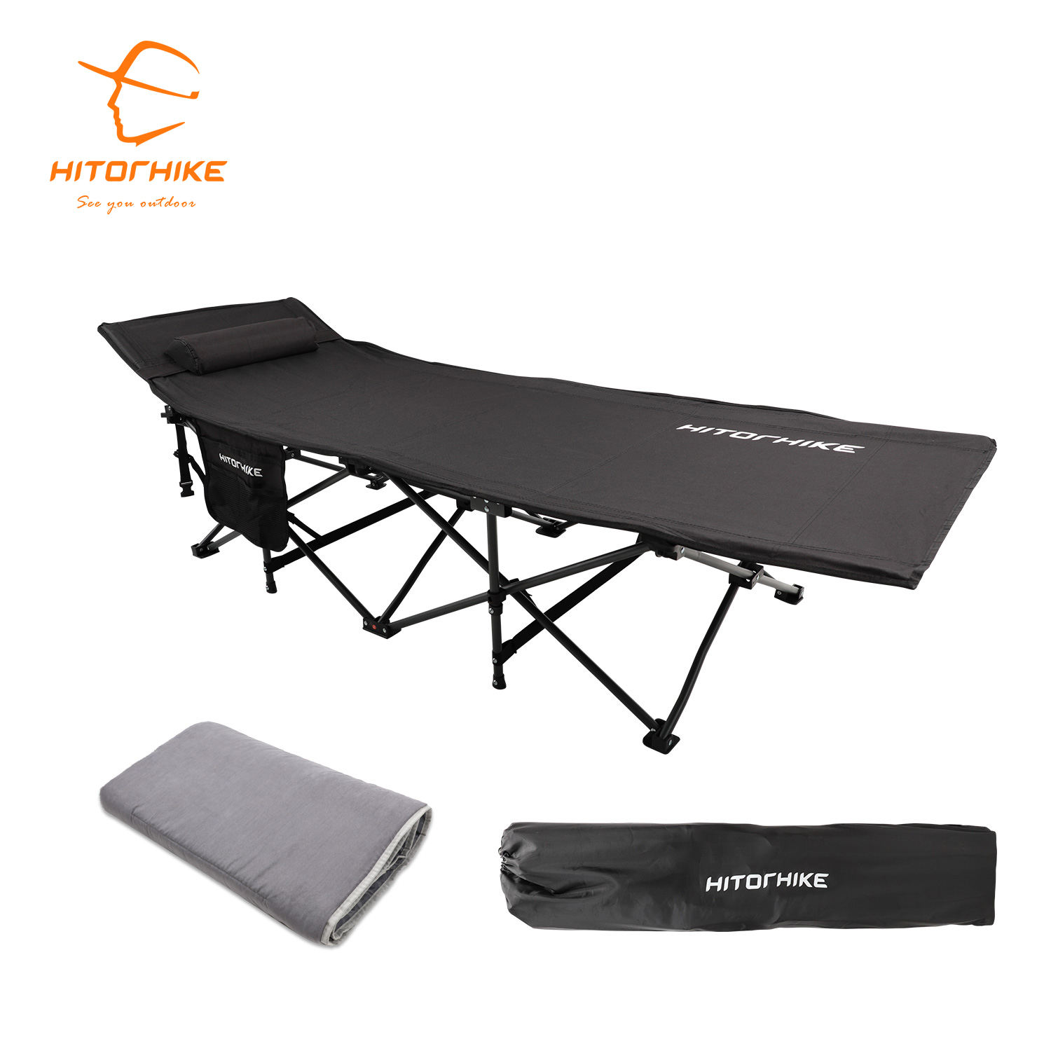 Hitorhike new style iron frame folding camping cot sleeping bed portable outdoor cots