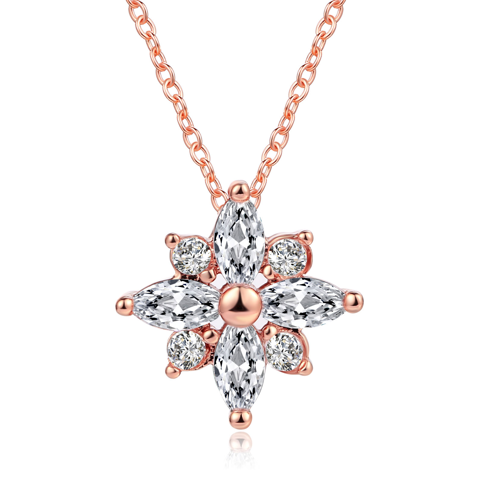 Wholesale New Year Christmas Gifts Cubic Zirconia Snowflake Pendant Necklace Jewelry for Girl N400-M