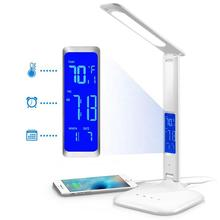 LED Folding Computer Desk Light Reading Lamp With Thermometer Calendar And Alarm Clock