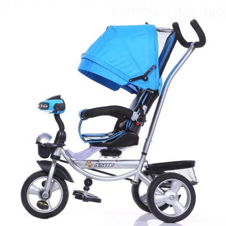 High quality 2016 new baby tricycle stroller air tire/1 year baby cycle CE EN71/3 wheel children's tricycle push bar back basket