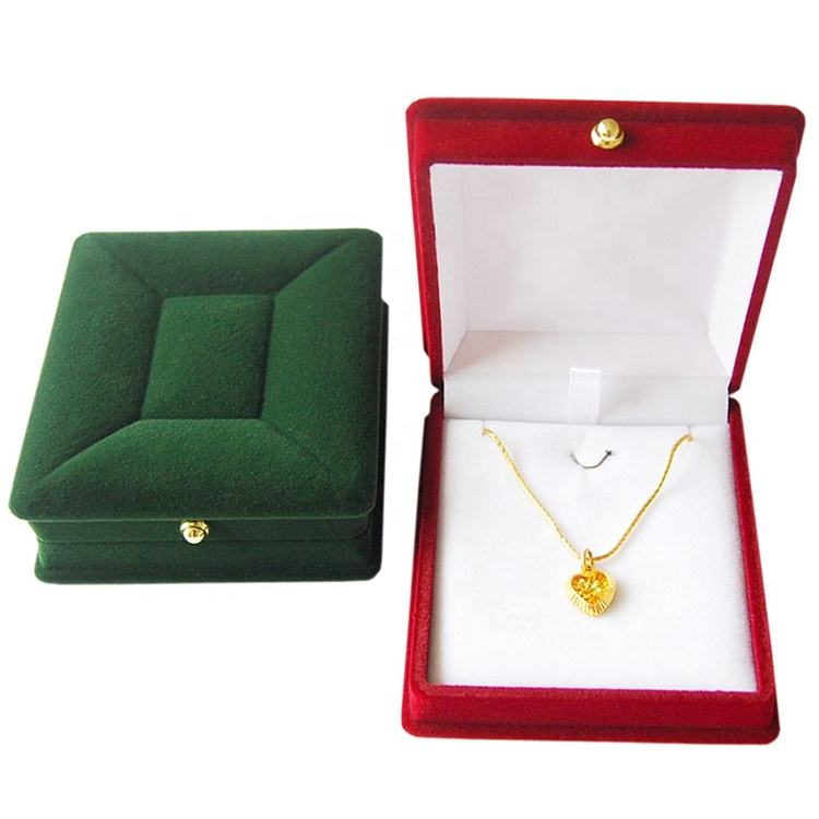customize wholesale plastic velvet flocked ring box necklace pendent jewelry packaging box