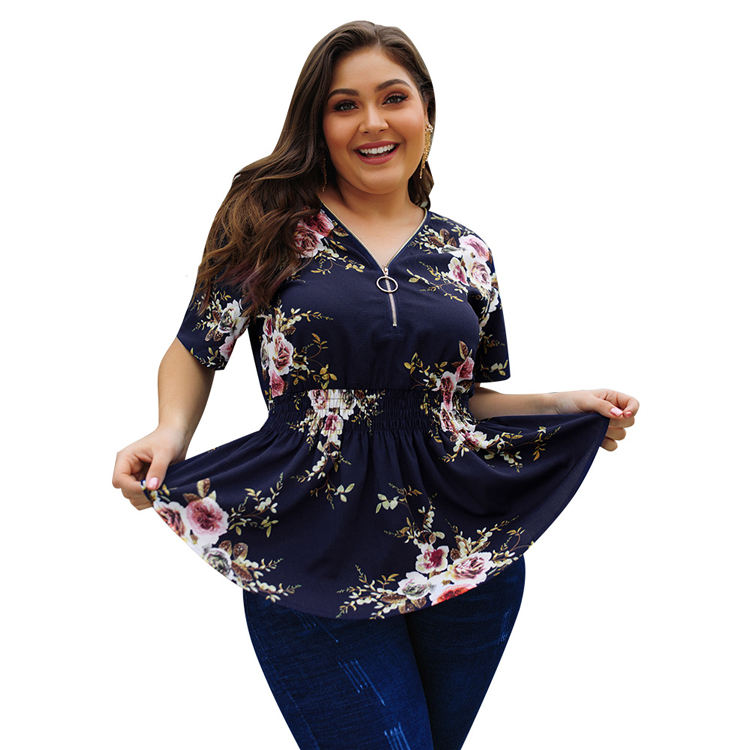 Wholesale Short Sleeve Summer Floral Printed Zipper V Neck Women Blouse Shirt Plus Size Tunics Tops And Blouses