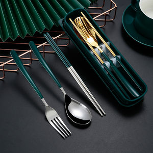 Reusable Cutlery Stainless Steel Office Utensils Portable Fork Spoon Chopsticks Travel Cutlery Set with Case