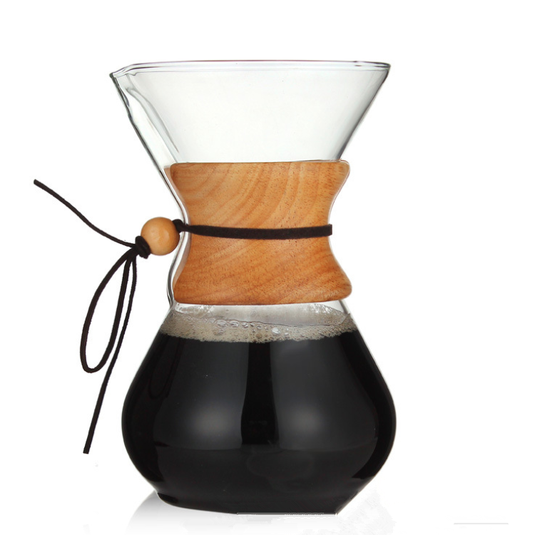 400ml Pour Over Glass Coffee maker with wood handle Elegant Coffee Dripper Pot V60 hand dripper