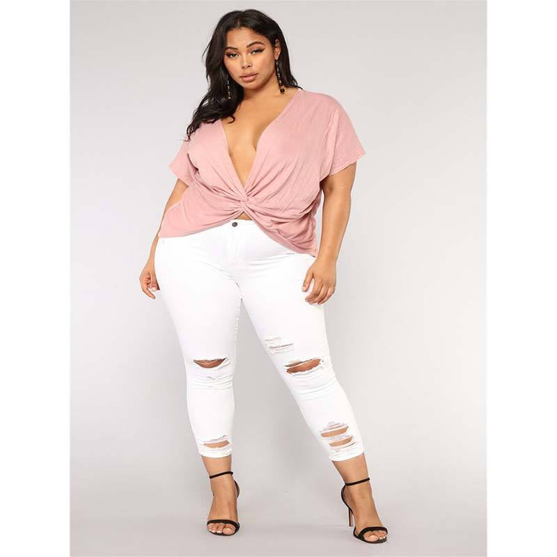 Wholesale products 5XL women jeans denim white plus size jeans plus size jeans pants for women with quality assurance