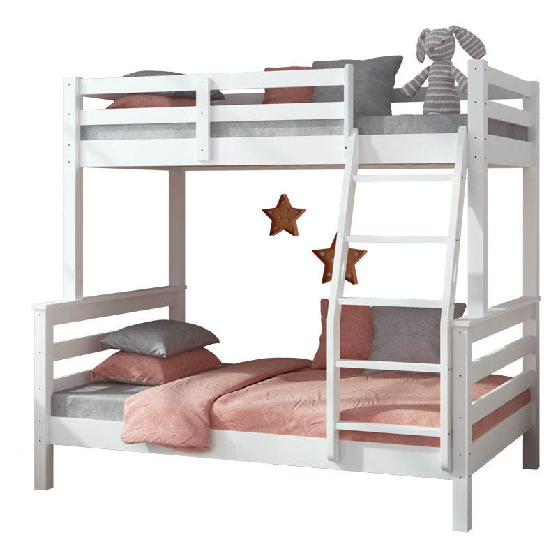 Nordic solid wood White Double Decker Kids Wooden Bunk Beds With Stairs