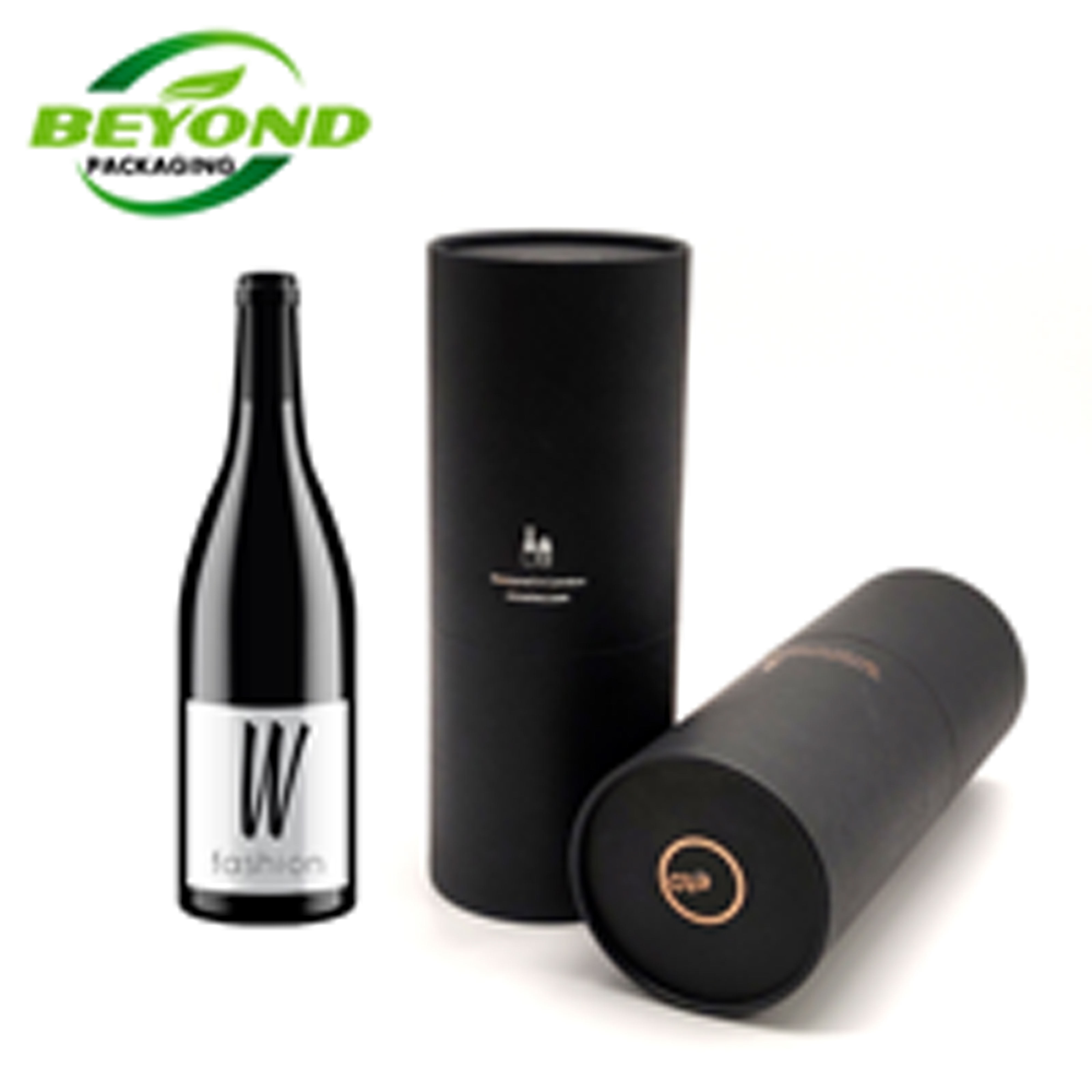 Recycled Luxury Customized Printing EVA Inside Black Cardboard Round Paper Tube Packaging For Whisky Wine/ Water Bottle Gift Box