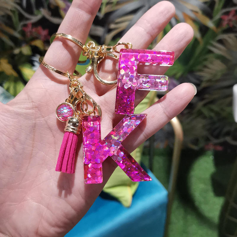 New Arrival Shiny Sequin Resin Initial Keychain for Women Bulk Purse Charm Alphabet Key Ring Letter A-Z Key Chain