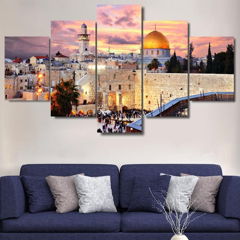 Jerusalem Modular Pictures 5 panels Islam Islamic City Poster Wall Art Modular Paintings For Kitchen Wall Pictures