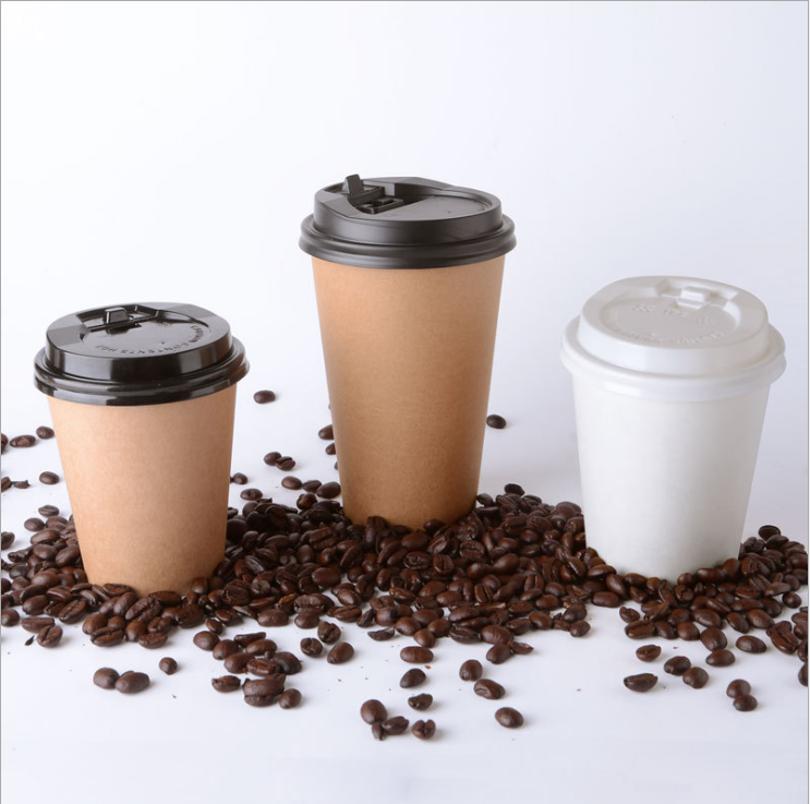 8oz 12 oz custom biodegradable disposable hot coffee paper cup with lid party decoration supplies