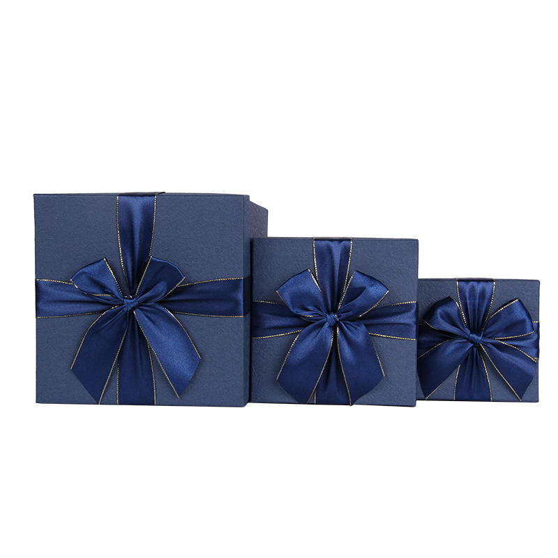 Spot packaging box blue square bow gift box customization