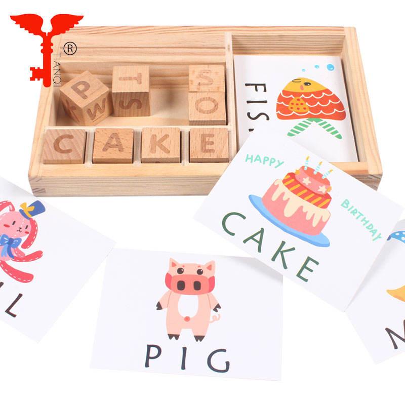 Intelligenz brief puzzle spiel vorschule pädagogisches spielzeug umweltfreundliche holz spielzeug holz wort spiel