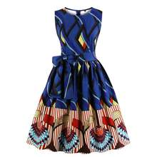 Hot Selling African Print Kitenge Dress Designs Waist Tie Sleeveless  Traditional Women Swing Casual Dress