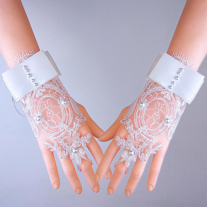 Beading Lace White Ivory Elegant Wedding Hand Gloves Women Wholesale