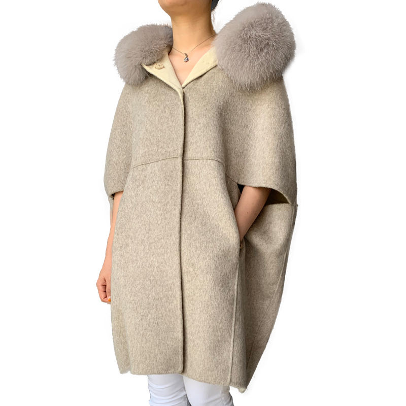 Trench Solid Patterned Detachable Real Fox Fur Women Coat Sleeveless Long Hooded Alpaca Wool Poncho Cashmere Cape with Fur