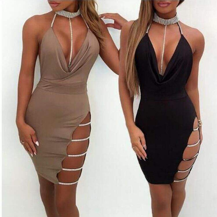 Wholesale Latest Sexy High Split V Neck Stone Club sexy bodycon maxi Dress for Women