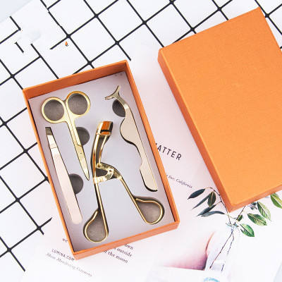 N115-4PCS/SET Gold Rose Gold False Eyelashes Tweezer Eye Lash Applicator False Eyelash Makeup Tools Eyelash Tweezers Set