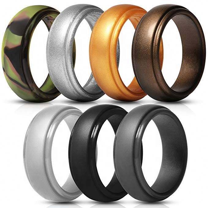 Top Quality Silicone Wedding Ring for Men, 4 Packs & Singles Silicone Rubber Wedding Bands - Step Edge Sleek Design
