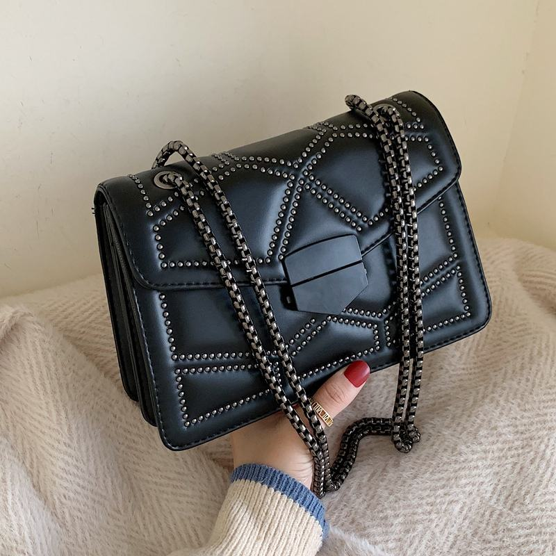 2019 Fashional Women Rivet Handbags Lady Square bag chain single Shoulder Bags