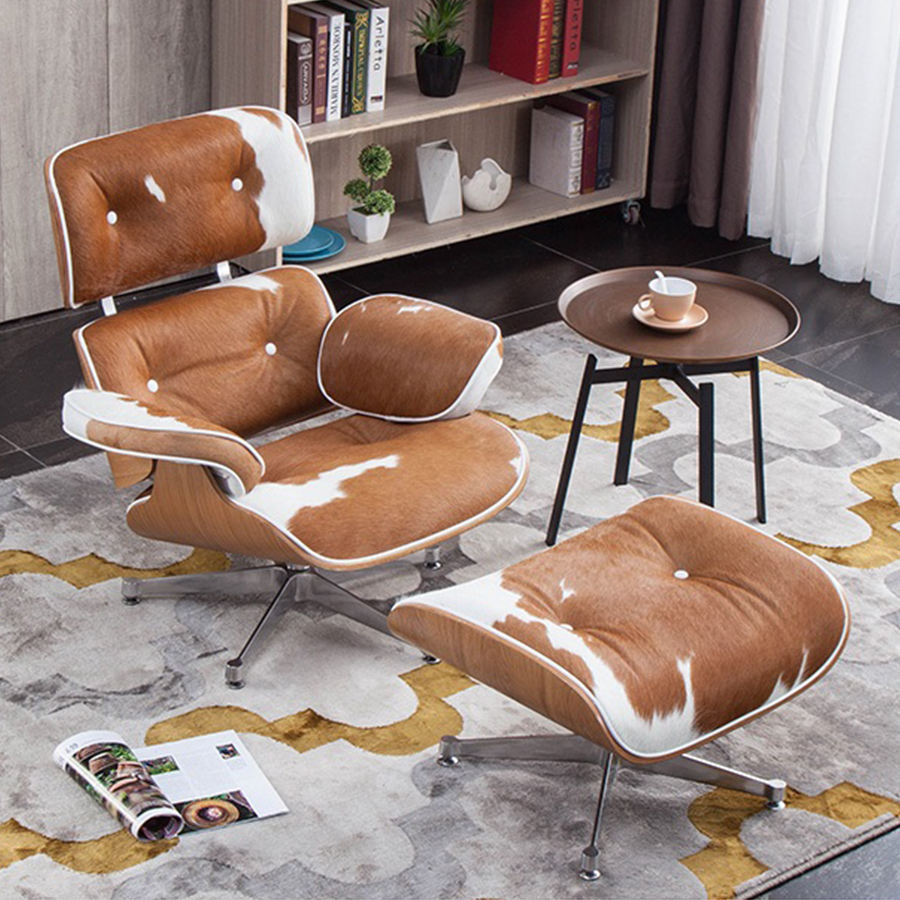 Modern furniture living room design chairs armchair recliner leather lounge chair with ottoman brown
