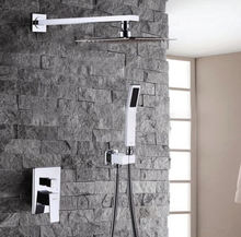Chrome brass wall mounted rain concealed shower set with handheld shower