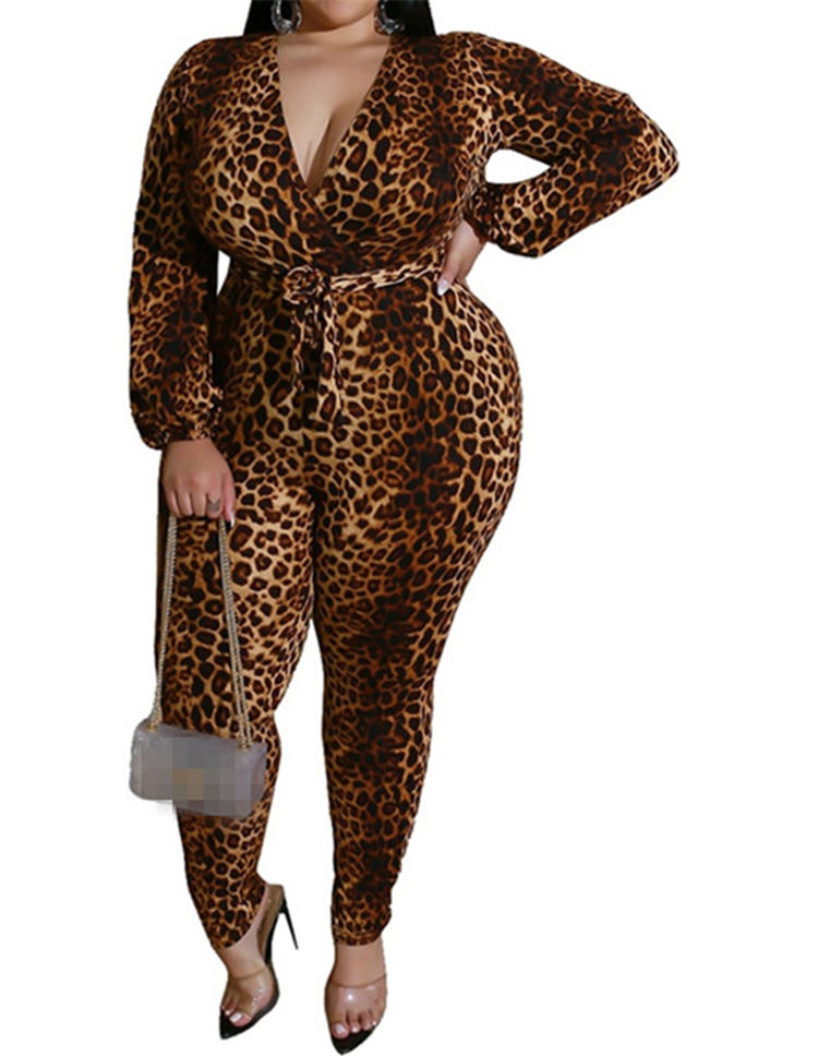 Wholesale Fat Women Plus Size Leopard Jumpsuit 4XL 5XL 6XL