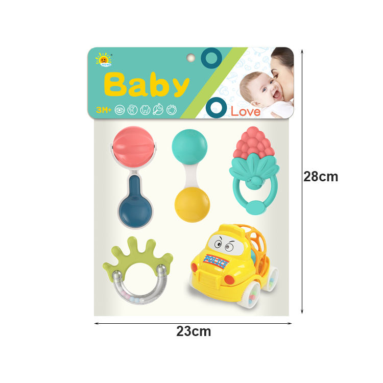 Hot sale nice shaking bell baby toy 5pcs set hanging bell plastic rings baby rattle teether