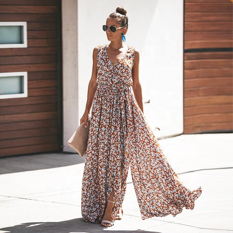 long cotton sleeveless dress ladies women casual summer maxi dresses